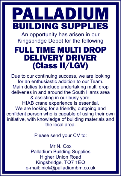 Full Time Multi Drop Delivery Driver Wanted