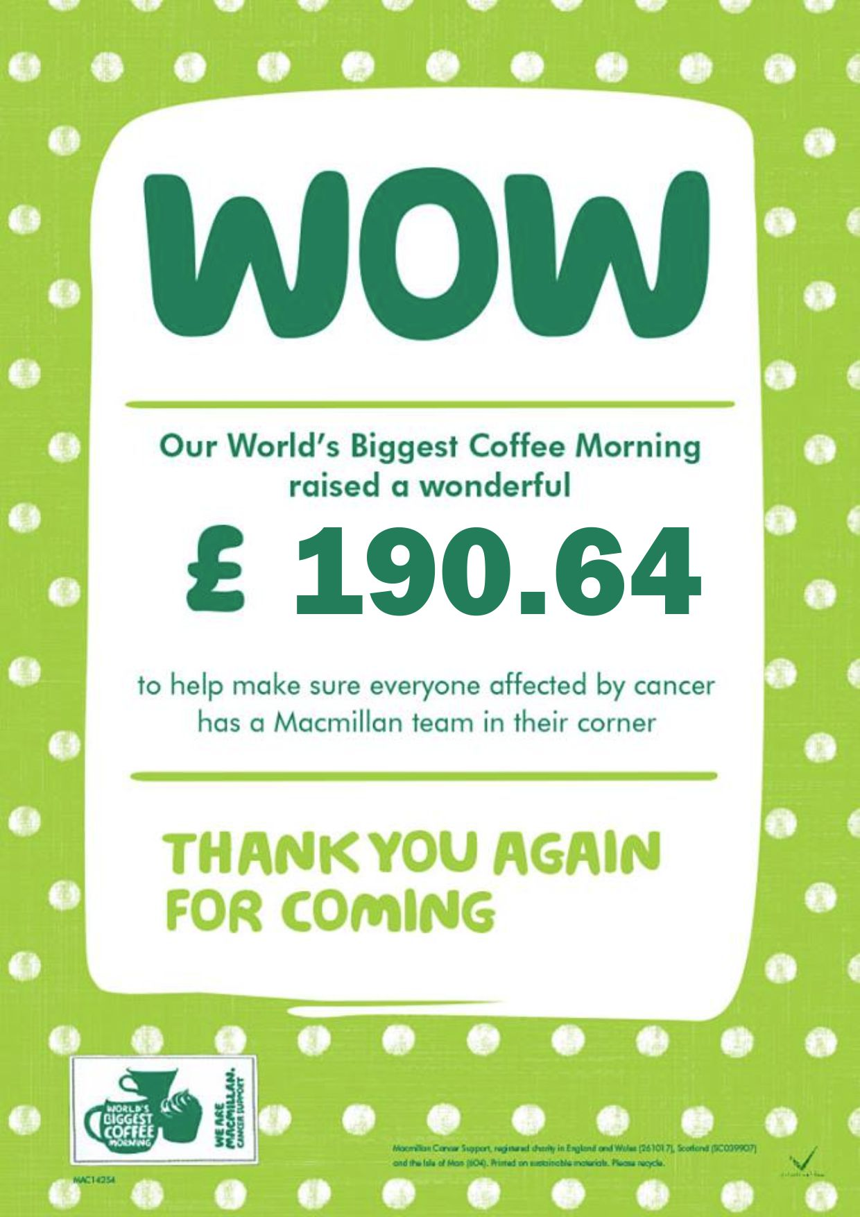 Macmillan World's Biggest Coffee Morning 2018 Palladium Kingsbridge