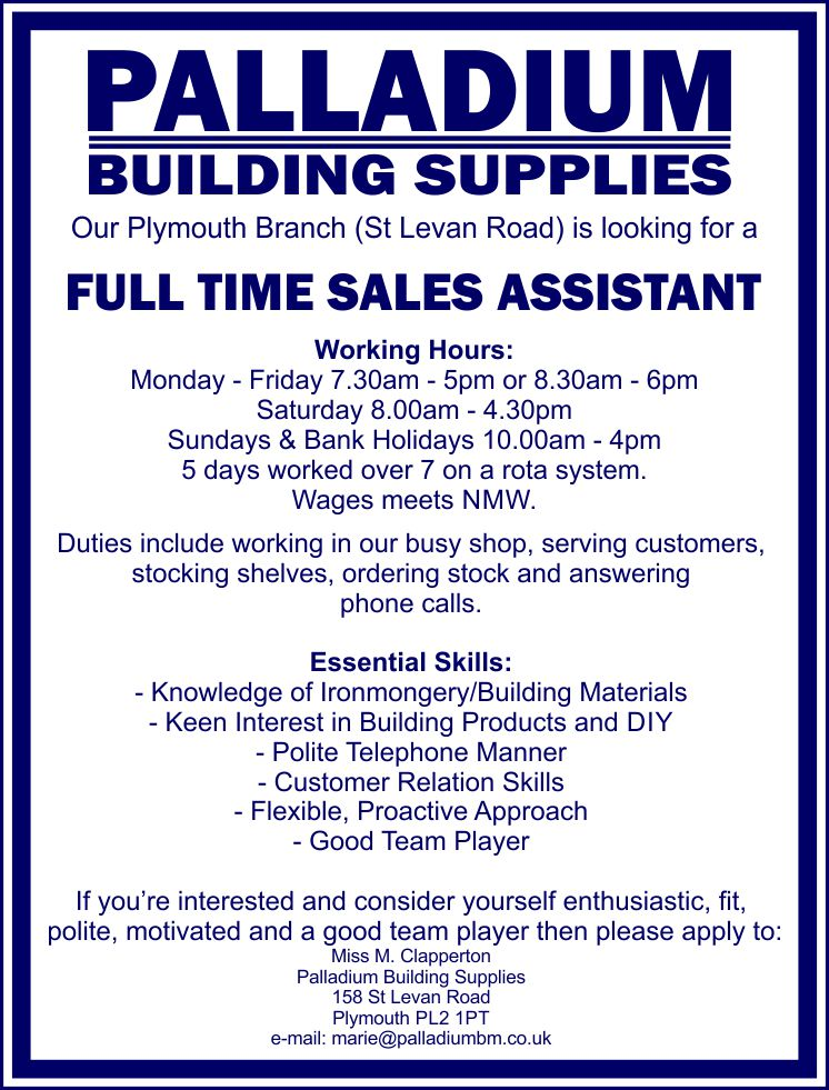 Our Plymouth Branch is looking for a Full Time Sales Assistant